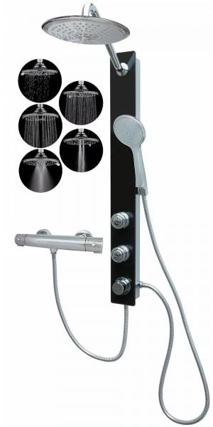 Glas Duschpaneel mit Thermostat Wellness Massagedüsen Schwarz 085-7B-R5-T