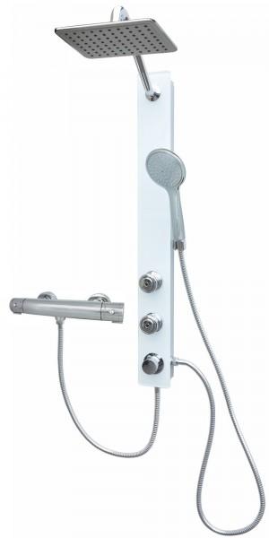 Glas Duschpaneel Brausepaneel Duschsäule mit Thermostat in Weiß 085-7W-24x19-812T