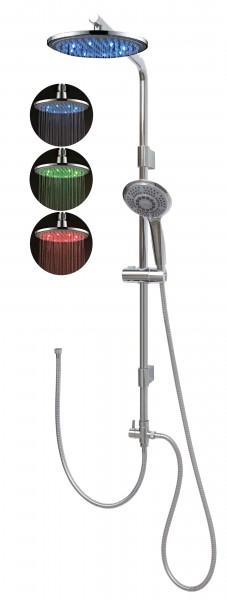 Duschsystem Brausegarnitur ohne Armatur Led Regenbrause Duschkopf 12003-0820