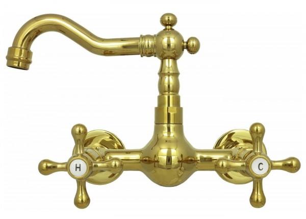 Retro 2 Griff Küchen Waschbecken Wand Armatur Wasserhahn Gold 82352-259